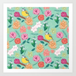 Joyful colourful floral pattern with bird Art Print
