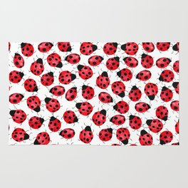 Watercolor Lady Bugs - Red Black Watercolor Insects Rug