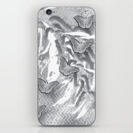 Butterflies in a gray abstract landscape iPhone Skin
