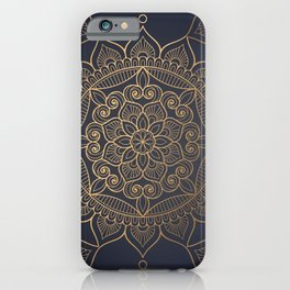 Navy & Gold Mandala Pattern iPhone Case