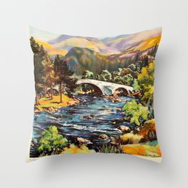 Scotland Where you are always welcome Travel Poster Throw Pillow