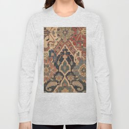 Geometric Leaves I // 18th Century Distressed Red Blue Green Colorful Ornate Accent Rug Pattern Long Sleeve T-shirt