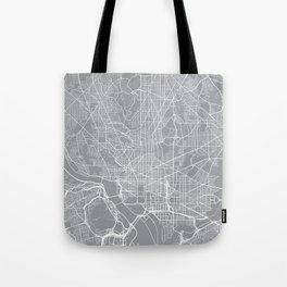 Washington Map, Dc USA - Pewter Tote Bag
