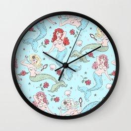 Mermaids and Roses on Aqua Wall Clock