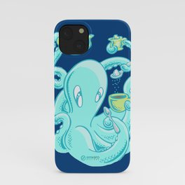 Squiggles: The perfect coffee (dark blue) iPhone Case