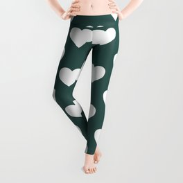 Hearts (White & Dark Green Pattern) Leggings