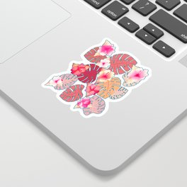Tropical Print in Living Coral Sticker