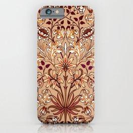 William Morris Hyacinth Print, Coffee Brown and Beige iPhone Case