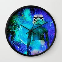 stormtrooper Wall Clocks featuring Stormtrooper   by Saundra Myles