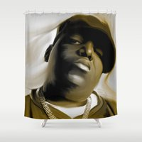 biggie smalls Shower Curtains featuring The Notorious B.I.G (Biggie Smalls) by darylrbailey