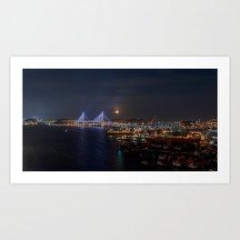 Moonrise Over Busan Harbour Bridge Art Print
