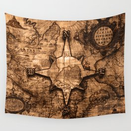 Antique World Map & Compass Rose Wall Tapestry