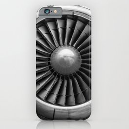 Vintage Airplane Turbine Engine Black and White Photography / black and white photographs iPhone Case