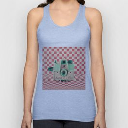 Mint Retro Camera on Red Chequered Background  Unisex Tank Top