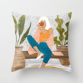 Boss Lady #illustration #painting Throw Pillow