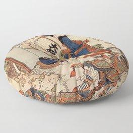The Strong Oi Pouring Sake by Katsushika Hokusai Floor Pillow