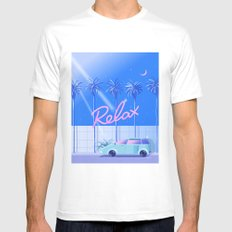 Relax (Blue) MEDIUM Mens Fitted Tee White