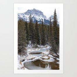 Frozen river in snowy woods Art Print