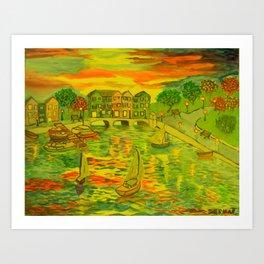 HarborSide Oil Painting Art Print