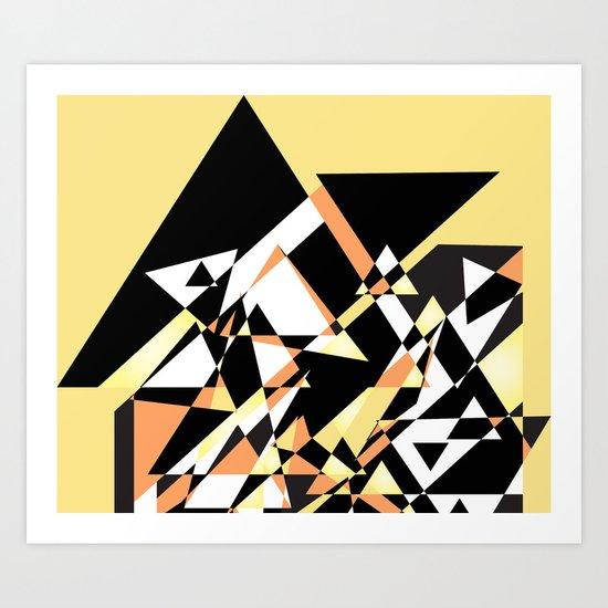 Mountain Peaks On Yellow Art Print