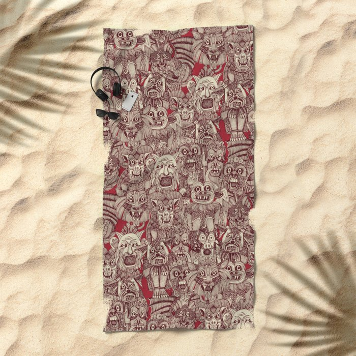 gargoyles red Beach Towel