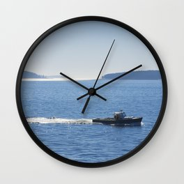 Lobster Boat And Islands Off Mount Desert Island Maine Wall Clock