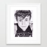 ashton irwin Framed Art Prints featuring portrait of Ashton by teresartwork