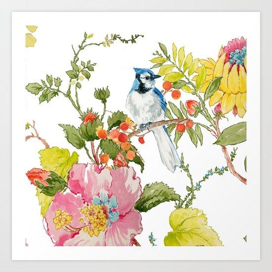 Bluejay Bird Day Floral Art Print