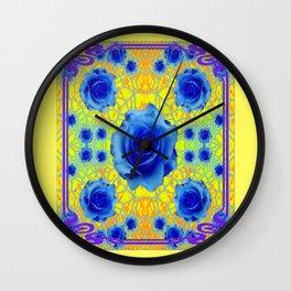 Yellow Gold Art Noveau Blue Roses Art Wall Clock