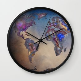 Stars world map. Blue. World map Wall Clock