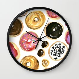Colorful donuts with sprinkles Wall Clock
