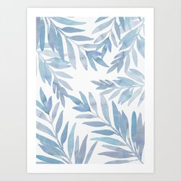 Muted Blue Palm Leaves Art Print