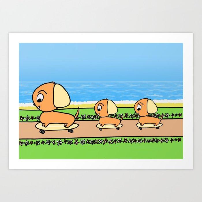 Cute Cartoon Dogs on Skateboards Art Print