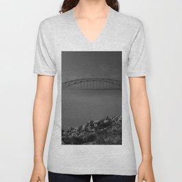 Julian Dubuque Bridge and the Mississippi River Unisex V-Neck