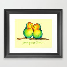 Love Birds on a Branch Framed Art Print