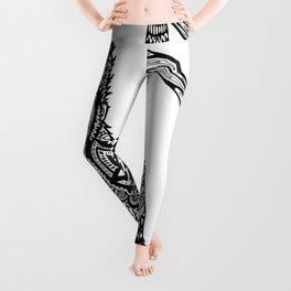 Swinging Chimpanzee Zentangle (abstract doodle) Leggings