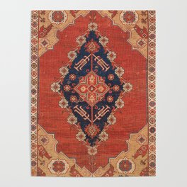 Southwest Tuscan Shapes II // 18th Century Aged Dark Blue Redish Yellow Colorful Ornate Rug Pattern Poster