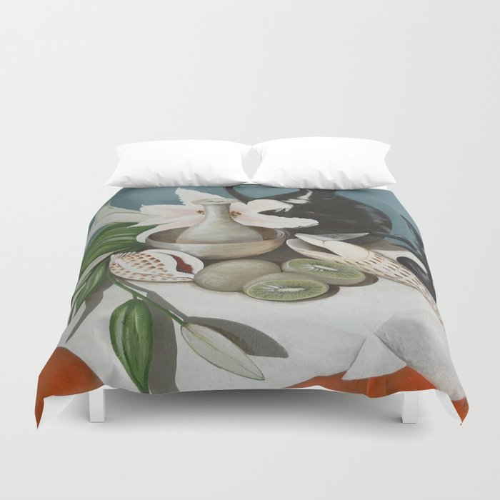 Kiwi fruit & Lillies Duvet Cover