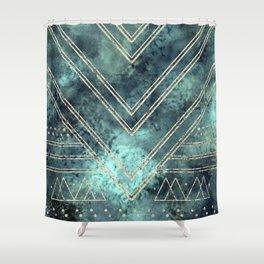 Jade Chevron Gold Shower Curtain