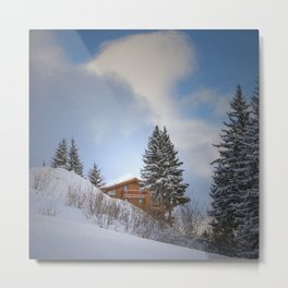 Chalet mountain cloud Metal Print