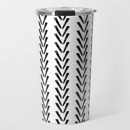 Linocut abstract minimal chevron pattern basic black and white decor Travel Mug