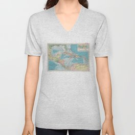 Vintage Map of The Caribbean Sea (1913) Unisex V-Neck