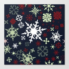 Christmas pattern with snowflakes Canvas Print