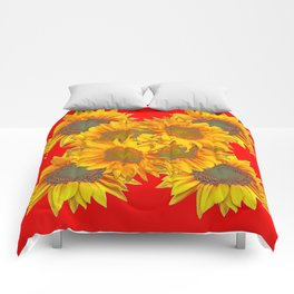 Red Design of Yellow Sunflowers Art Comforters