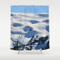 skiing Shower Curtains featuring Back-Country Skiing - II by Alaskan Momma Bear
