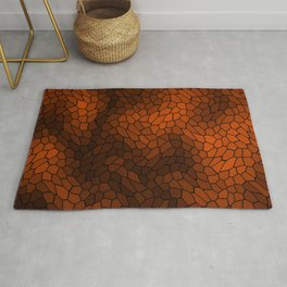 Stained glass texture of snake brown leather with dark heat spots. Rug