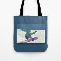 snowboarding Tote Bags featuring Snowboarding by Aquamarine Studio