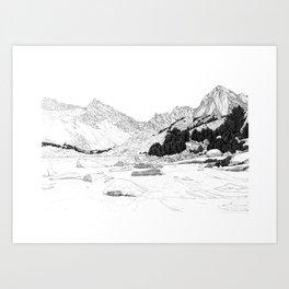 California Blue lake Mountains Art Print