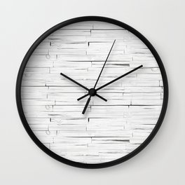White Wooden Planks Wall Wall Clock