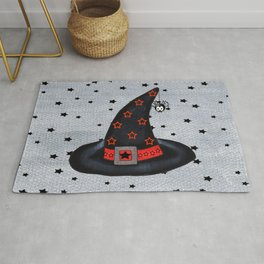 Black Witch Hat Silver Buckle Black Stars Cute Dangling Spider Rug